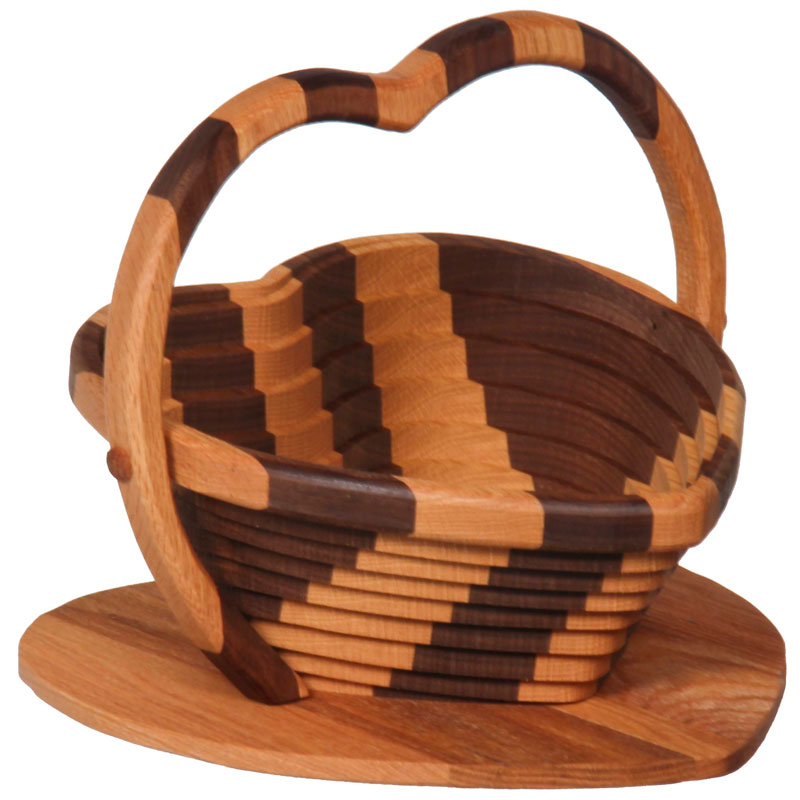 Collapsible Basket - Heart / Striped