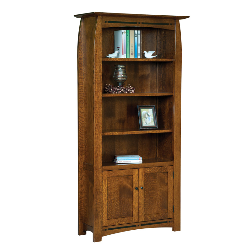 Boulder Creek  4 Shelf, 2 Door Bookcase