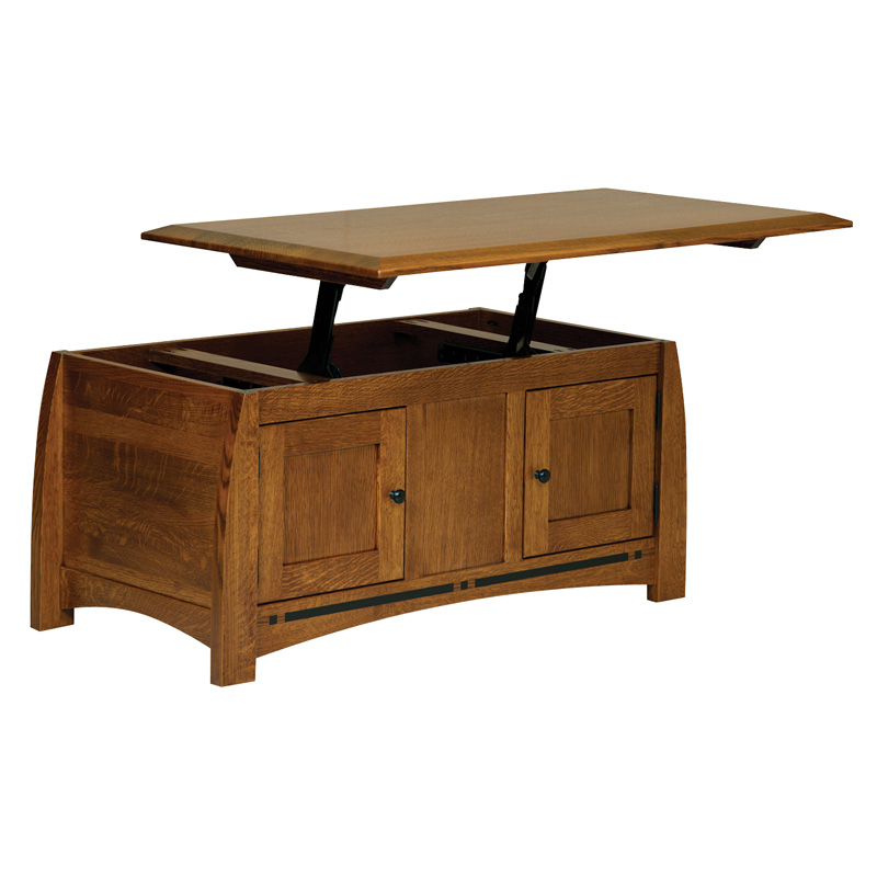 Boulder Creek Enclosed Lift Top Coffee Table Amish Furniture Amish
