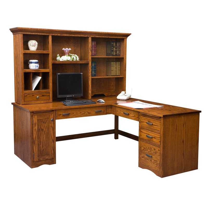 Amish Mission Computer Desk with Return - Open Back | Amish Furniture | Shipshewana Furniture Co.