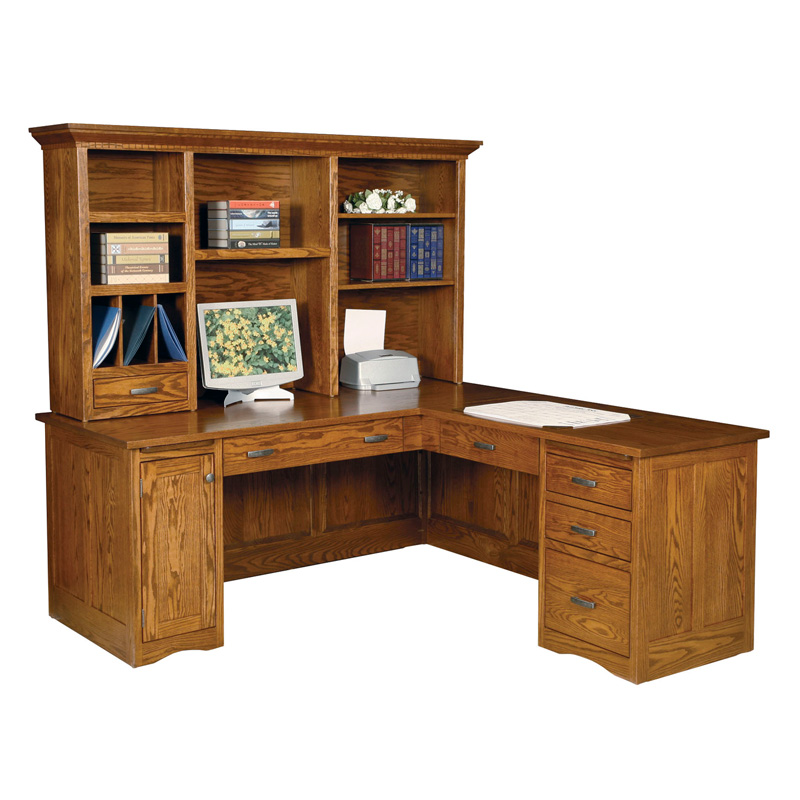 Amish Mission Computer Desk with Return - Paneled Back | Amish Furniture | Shipshewana Furniture Co.