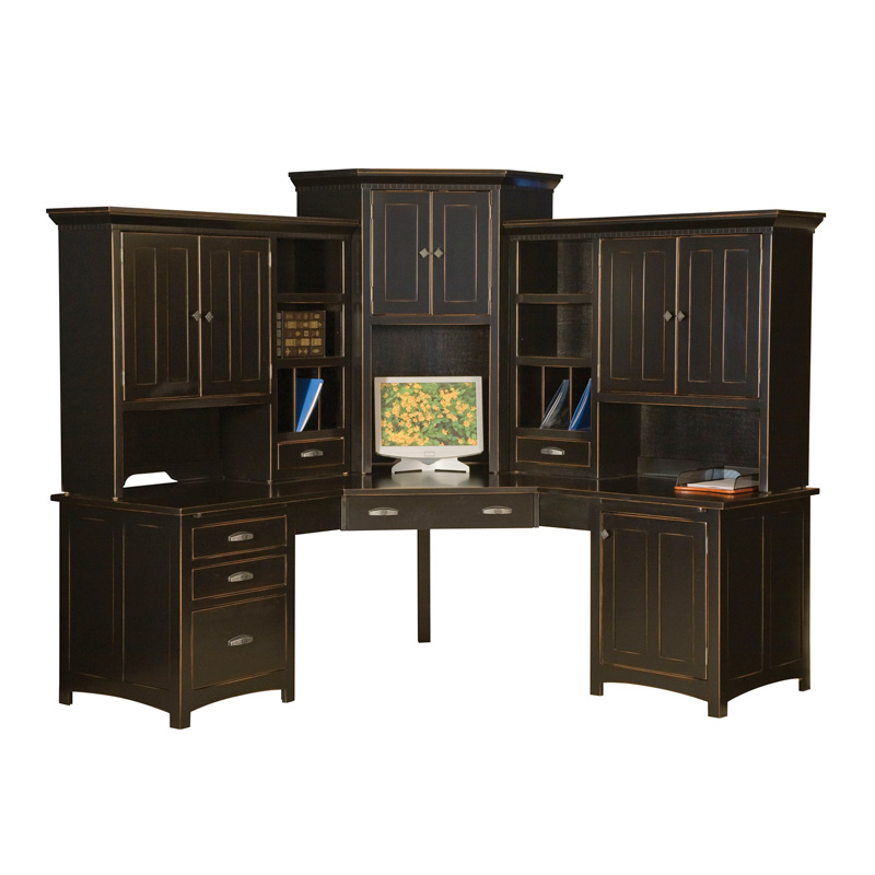 Amish Oakwood Corner Computer Center | Amish Furniture | Shipshewana Furniture Co.