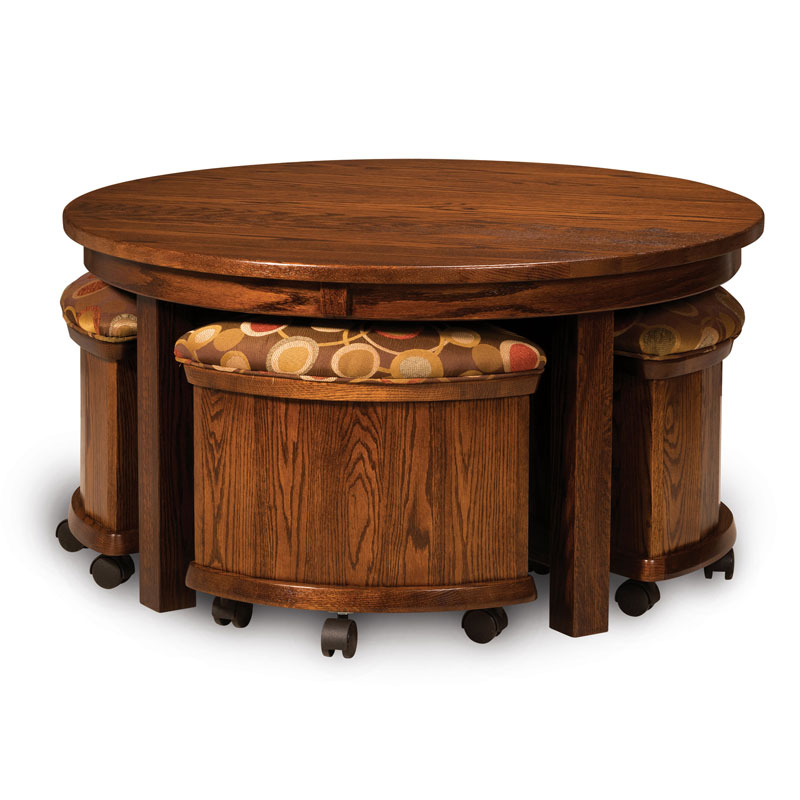 Amish 5 pc Round Table Bench Set with Storage | Amish Furniture | Shipshewana Furniture Co.