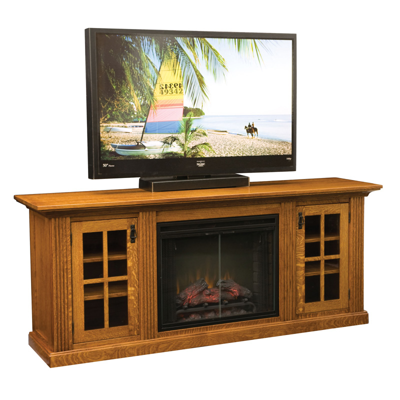 Amish Weston Fireplace Entertainment Console | Amish Furniture | Shipshewana Furniture Co.
