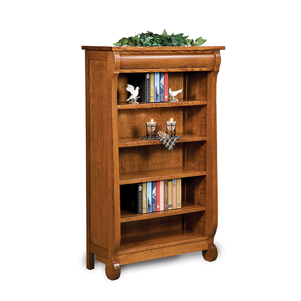 More Information · Amish Old Classic Sleigh Bookcase 5ft   Amish Furniture    Shipshewana Furniture Co.