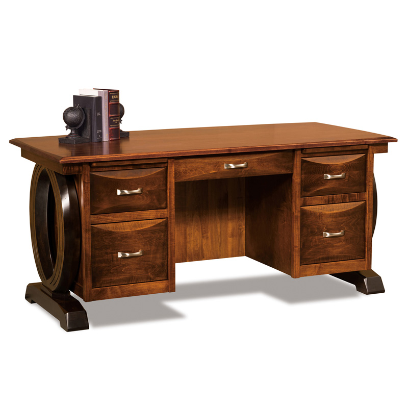 "Amish Saratoga Desk 68""W with Curved Top 