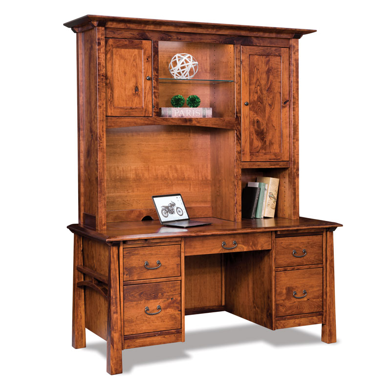 Artesa Double Pedestal Desk with Hutch Top