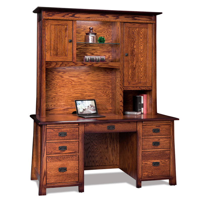 Grant Double Pedestal Desk with Hutch Top
