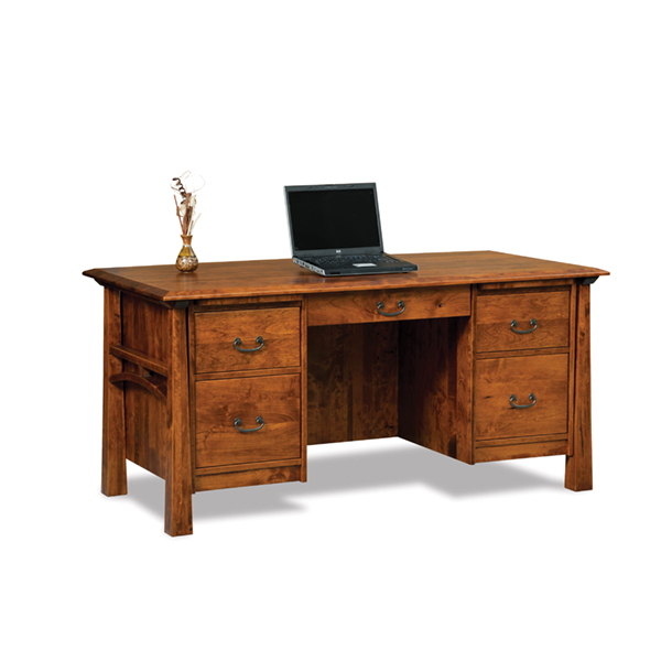 "Amish Artesa Desk 65""W - Unfinished Back 