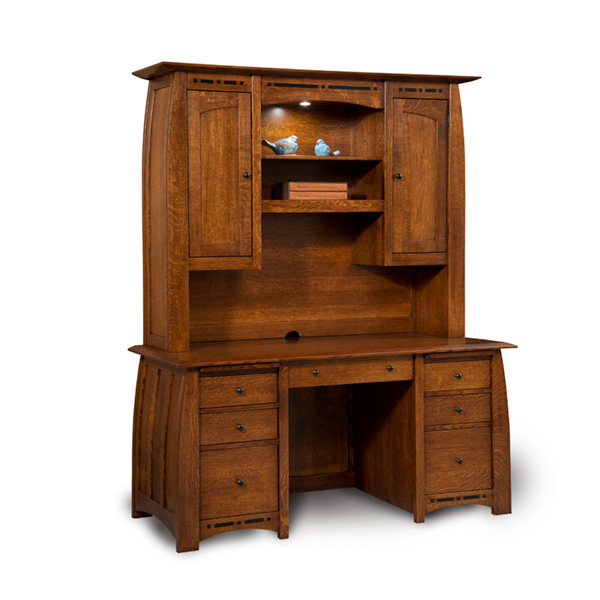 "Amish Boulder Creek Desk w/ Hutch Top 65""W 