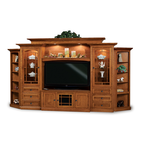 Amish Manhattan Mission 8pc Wall Unit w/ Corner Sides | Amish Furniture | Shipshewana Furniture Co.