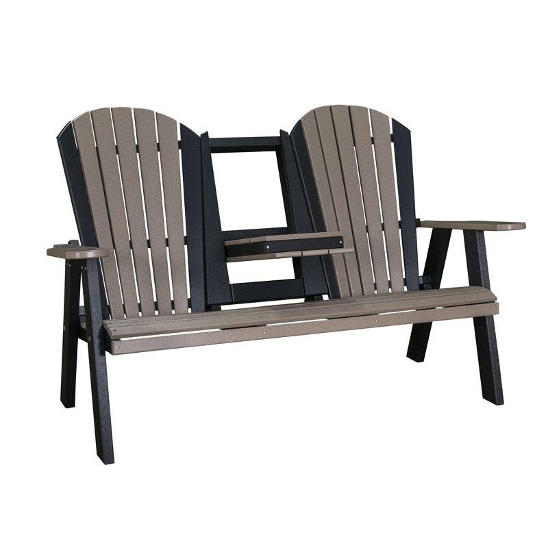 Adirondack Stationary Love Seat w/ Flip Down