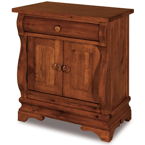 Chippewa Sleigh 1 Drawer, 2 Door Nightstand