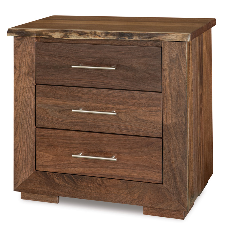 "Live Wood 3 Drawer Nightstand 28""W"