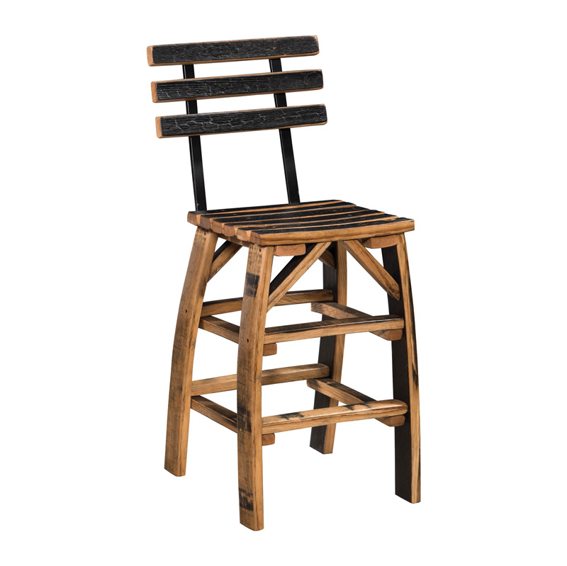 Barrel Stave Stationary Bar Stool with Back