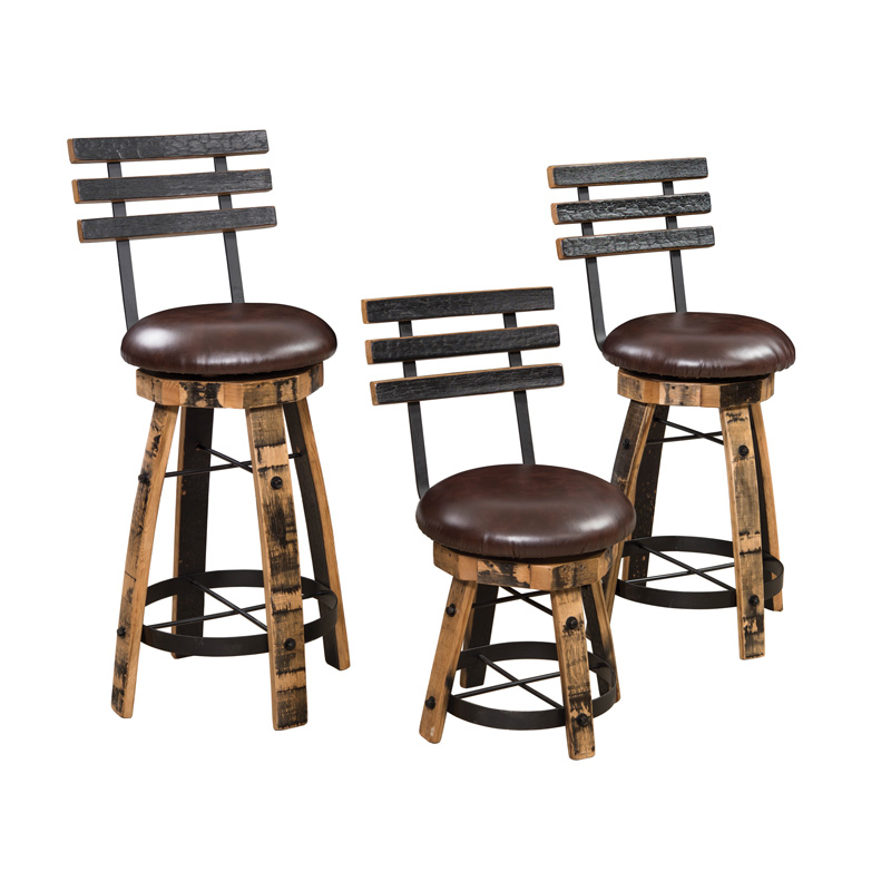 Barrel Stave Bar Stool with Round Steel, Cushions & Backs