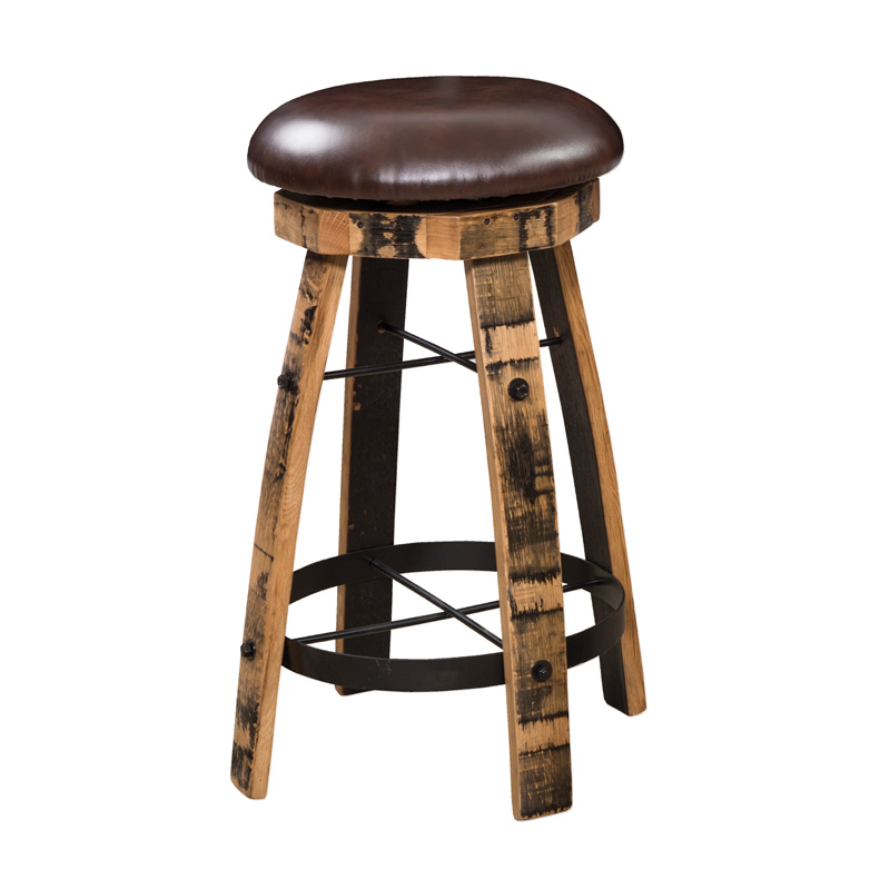 Barrel Stave Bar Stool with Round Steel & Cushions