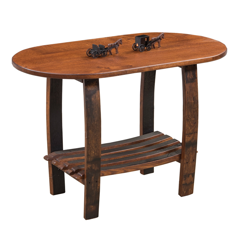 Barrel Stave Oval End Table with Shelf