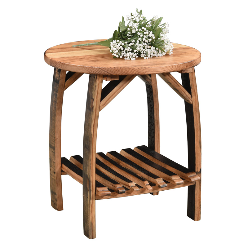 Barrel Stave End Table with Shelf