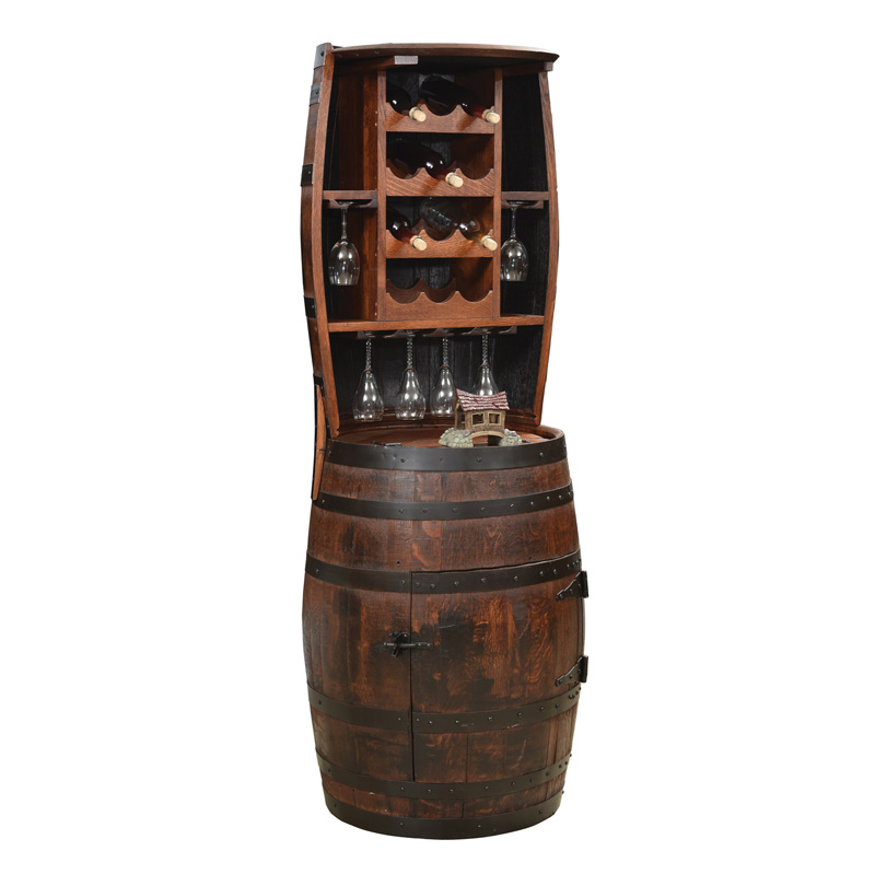 Barrel Hutch with 12 Bottle Holder