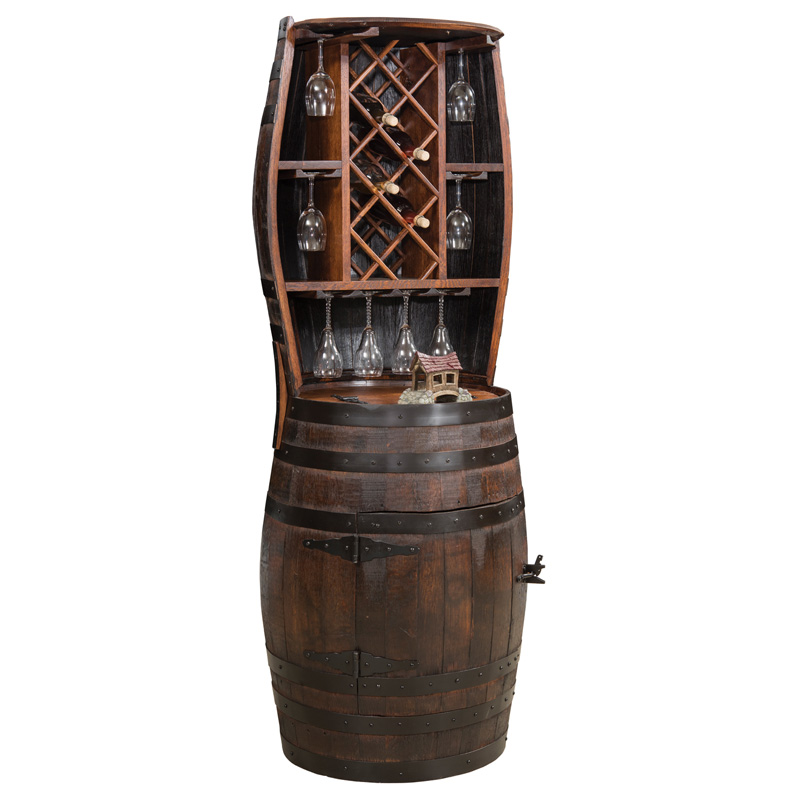 Barrel Hutch with 7 Bottle Holder