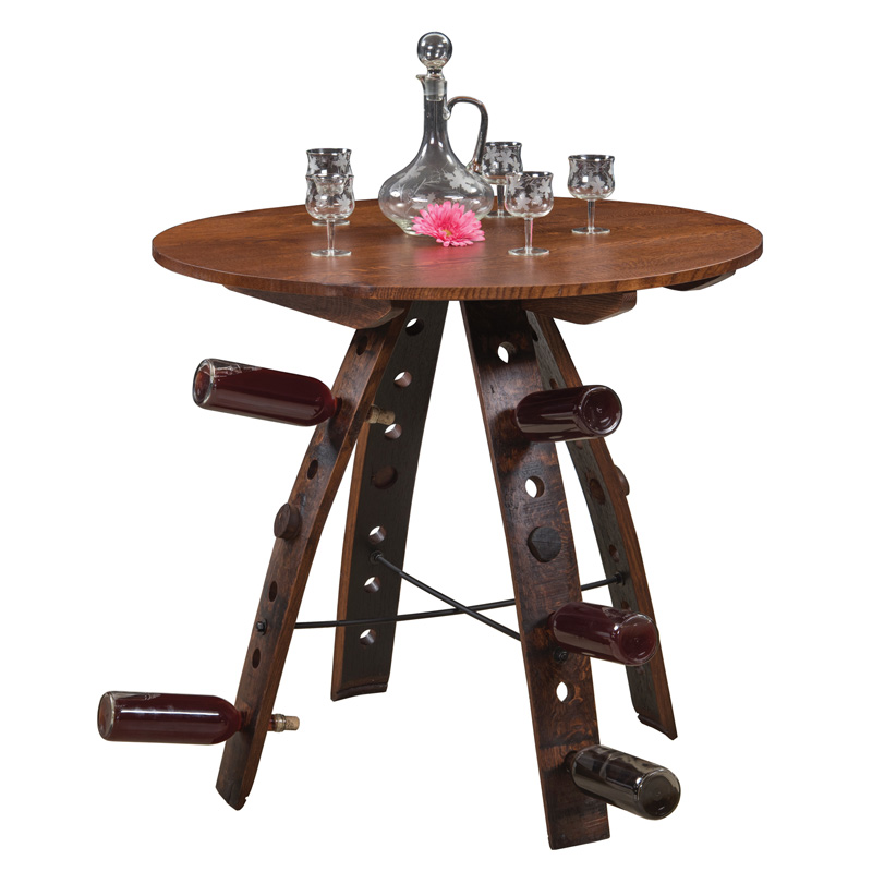 "Barrel Stave Table 36"" - Holds 20 Bottles"