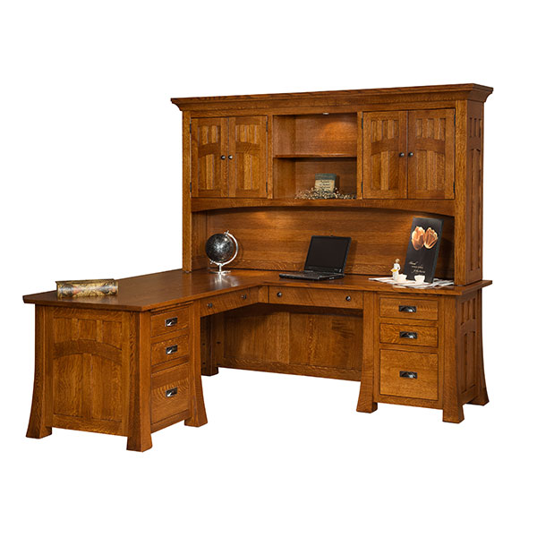 Amish Bridgefort Mission Corner Desk 74x88 | Amish Furniture | Shipshewana Furniture Co.