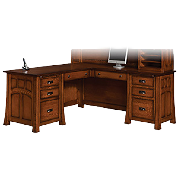 Amish Bridgefort Mission Corner Desk 66x76 | Amish Furniture | Shipshewana Furniture Co.