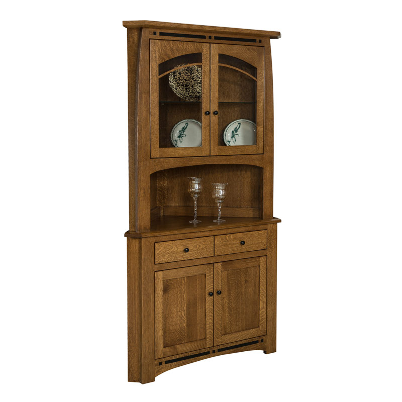 Amish Boulder Creek Corner Hutch | Amish Furniture | Shipshewana Furniture Co.