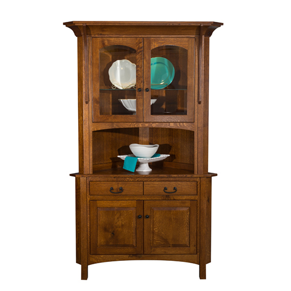 Amish Boston Corner Hutch | Amish Furniture | Shipshewana Furniture Co.