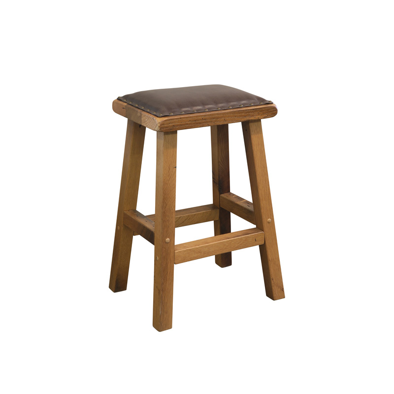 Barnwood Barstool - Leather Seat