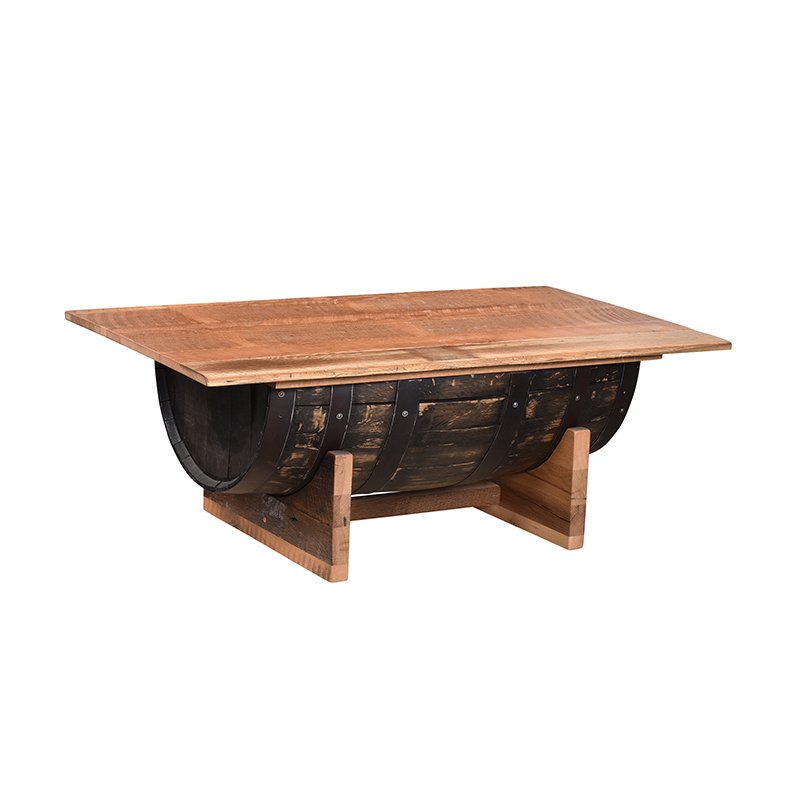 Half Barrel Coffee Table with Lift Top - Barnwood