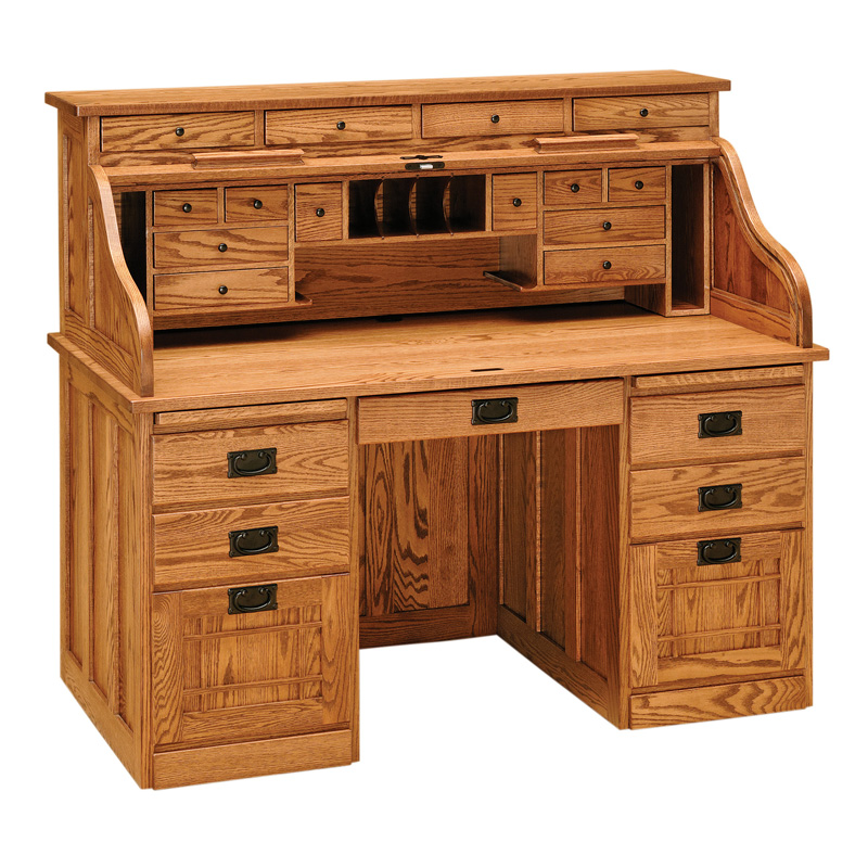 Amish Mission Rolltop Desk - Double Pedestal | Amish Furniture | Shipshewana Furniture Co.