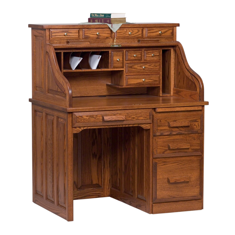 Amish Classic Single Pedestal Rolltop Desk | Amish Furniture | Shipshewana Furniture Co.