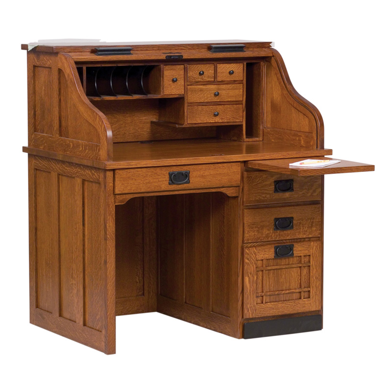 "Amish Mission Rolltop Desk - Single Pedestal 30""D 