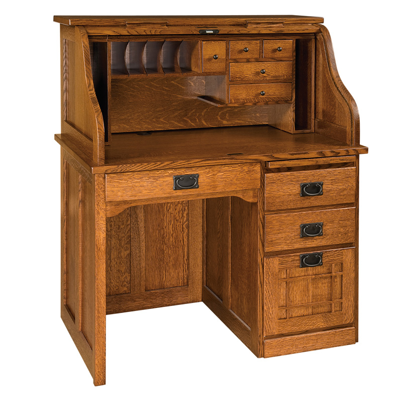 "Amish Mission Rolltop Desk - Single Pedestal 25""D 