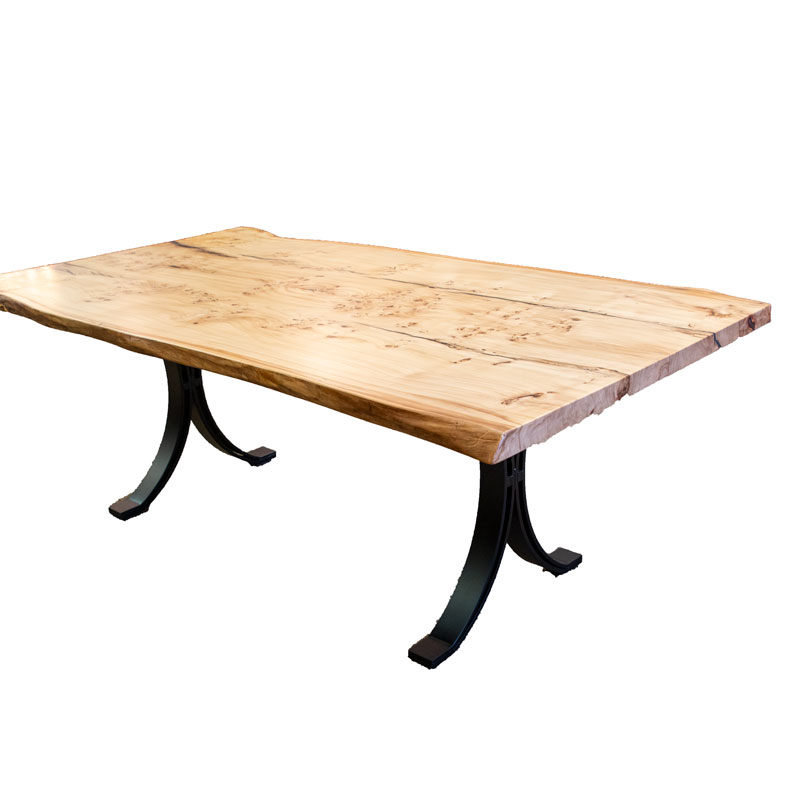 Bookmatch Burl Elm Table - Live Edge