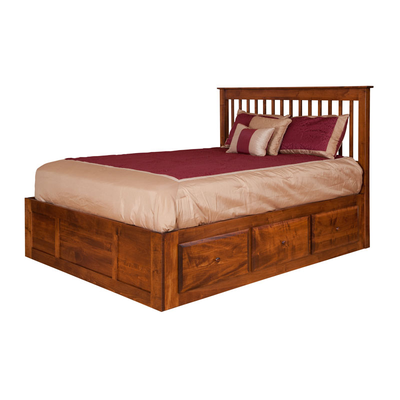 English Shaker Spindle Bed w/ Drawers