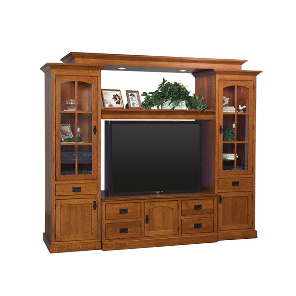 Amish Mission Wall Unit with Bridge | Amish Furniture | Shipshewana Furniture Co.