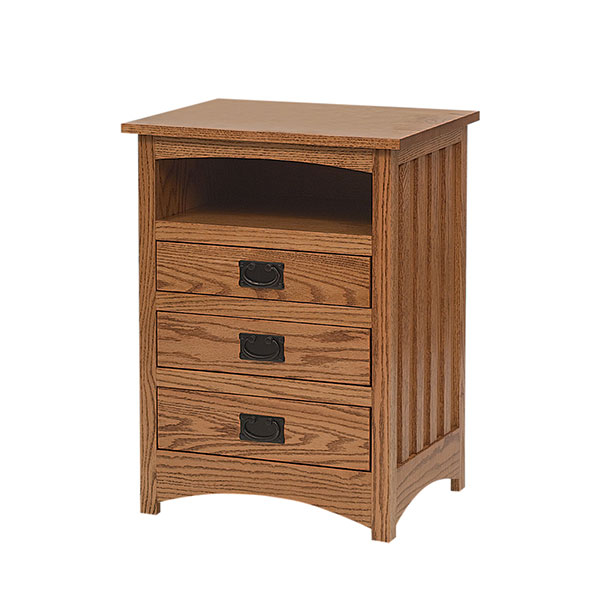 Schwartz Mission 3 Drawer Nightstand w/ Opening