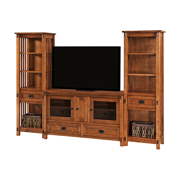 Amish Rio Mission TV Console with Towers | Amish Furniture | Shipshewana Furniture Co.