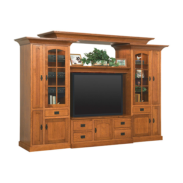 Amish Rockport Deluxe Wall Unit with Bridge | Amish Furniture | Shipshewana Furniture Co.