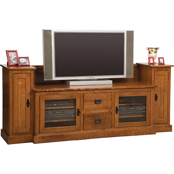 "Amish Mission TV Stand with Towers (60"" TV Space) 