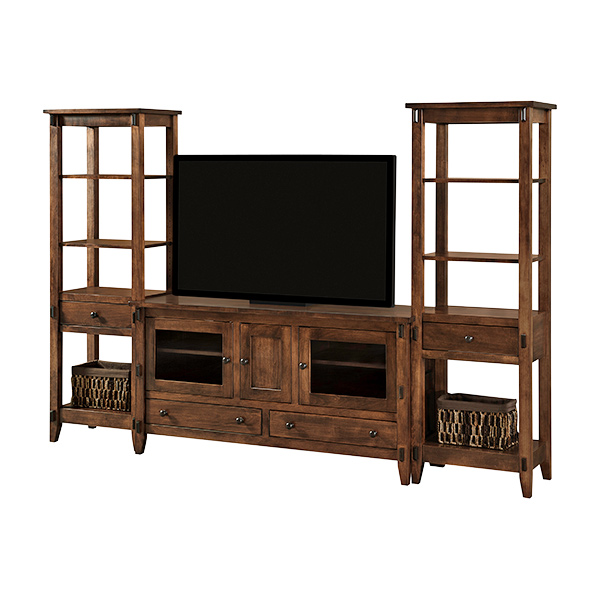Amish Bungalow TV Console with Towers | Amish Furniture | Shipshewana Furniture Co.