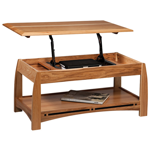 Boulder Creek Open Lift Top Coffee Table Amish Furniture