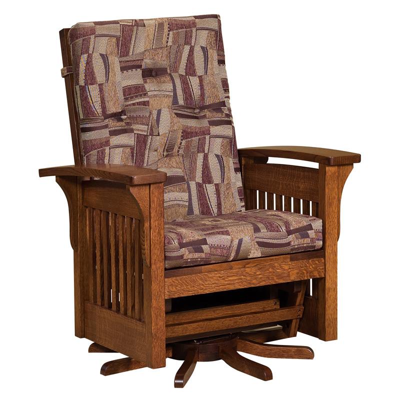 Amish Bow Arm Slat Swivel Glider | Amish Furniture | Shipshewana Furniture Co.