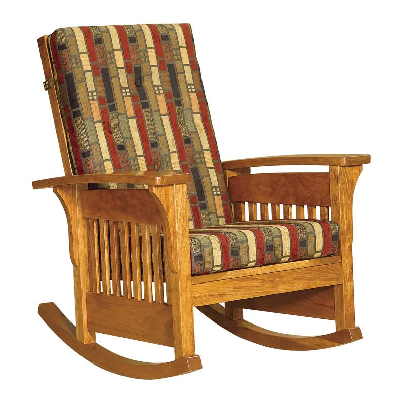 Amish Bow Arm Slat Rocker   Amish Furniture   Shipshewana Furniture Co.