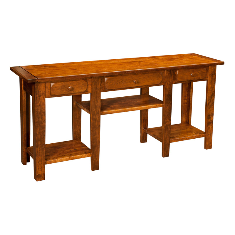 Amish Sofa Table Keystone Two Drawer Queen Anne