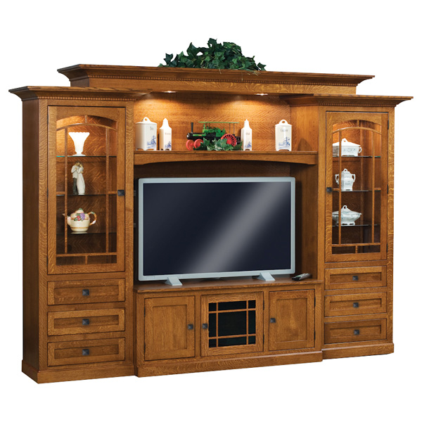 Amish Manhattan Mission 6pc Wall Unit | Amish Furniture | Shipshewana Furniture Co.