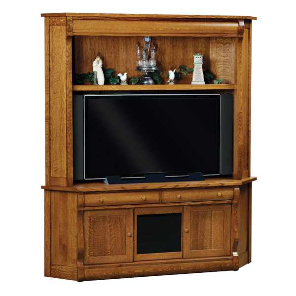 Amish Old Classic Sleigh Corner TV Cabinet | Amish Furniture | Shipshewana Furniture Co.